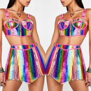 🌈 Rainbow Prismatic Empress Hologram Skirt